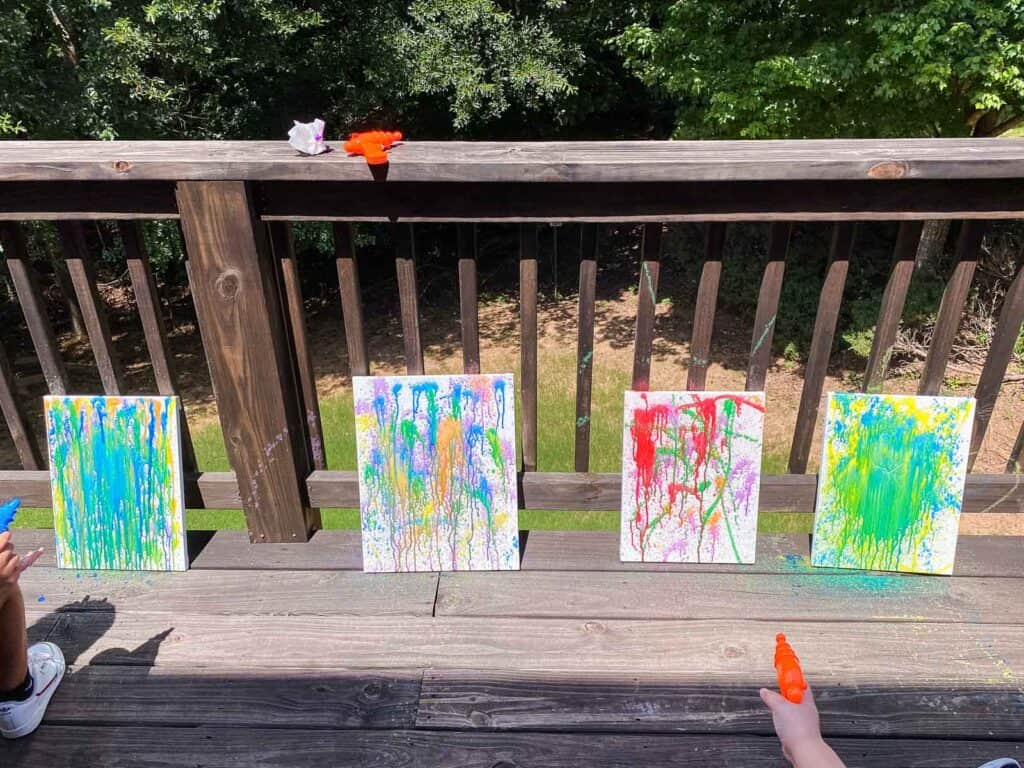 water gun painting on canvas