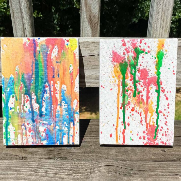 water gun painting on canvas SQUARE - Amanda Seghetti