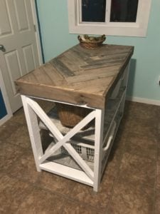 DIY Herringbone Laundry Room Table Project