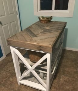DIY herringbone laundry table