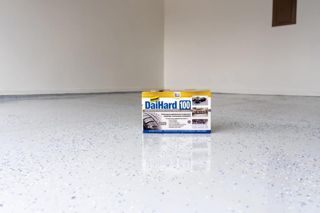 DaiHard garage paint kit on floor