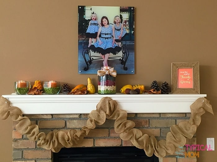 Decorating your mantel for the Fall. Free printable and burlap garland tutorial. - Amanda Seghetti