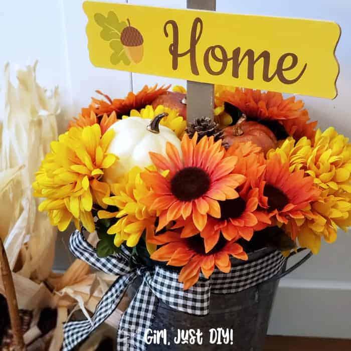 Dollar Store Fall Flower Bucket DIY Square - Amanda Seghetti