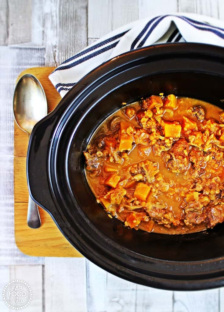 beef and butternut squash in the crockpot