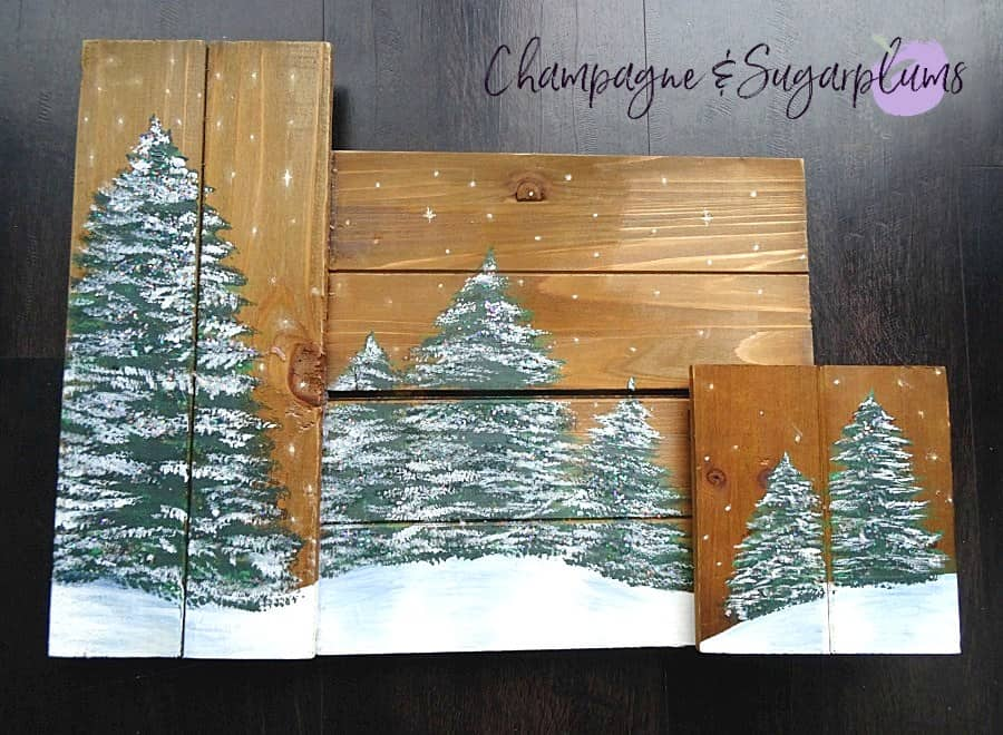 Winter Trees Plaques Completed One - Amanda Seghetti