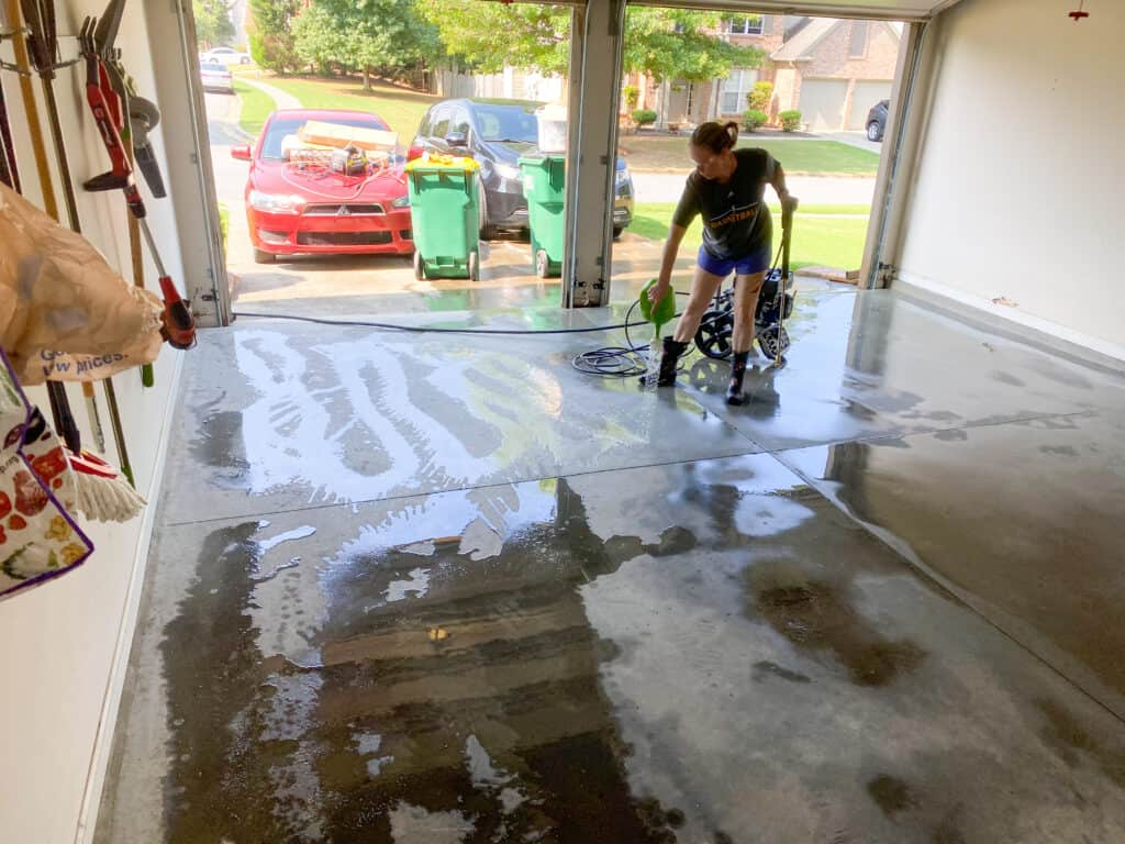 cleaning and pressure washing garage floor