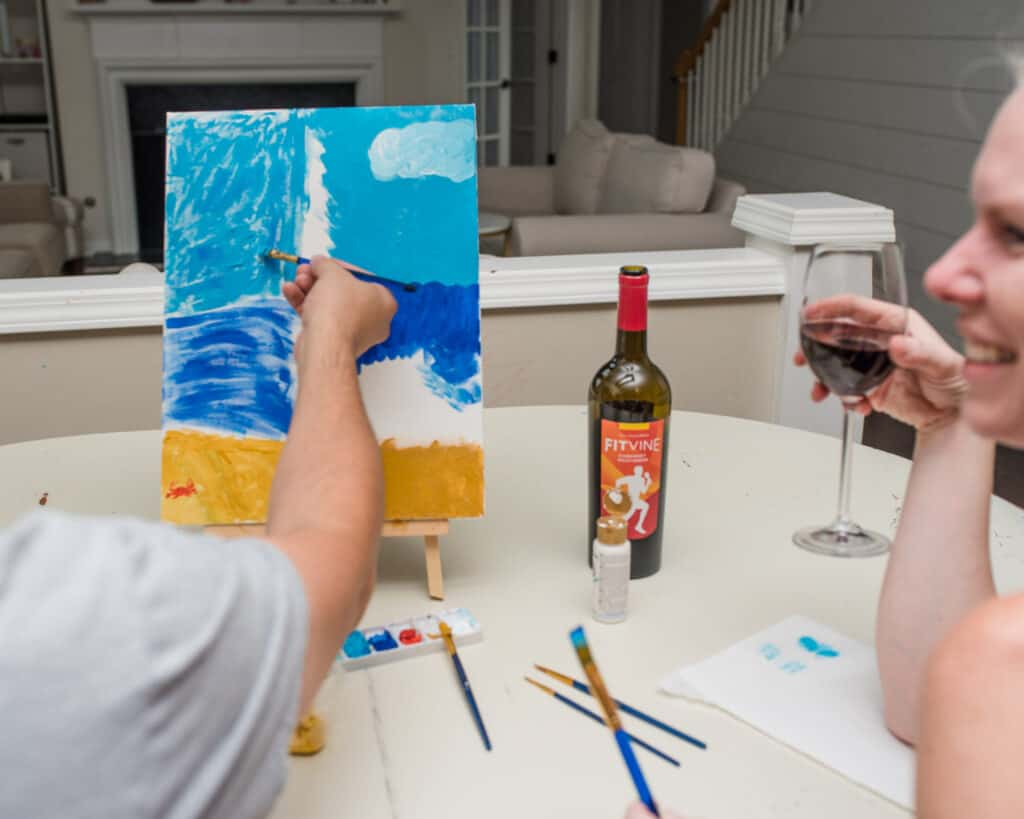 couples paint and sip for at home date night
