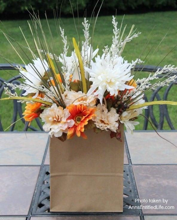dollar store craft paper bag flower arrangement vertical - Amanda Seghetti