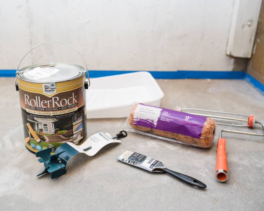 materials needed to stone texture paint concrete with RollerRock