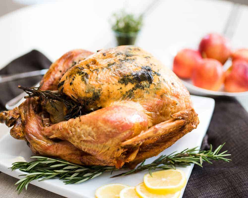 roasted thanksgiving turkey with fruit and herbs