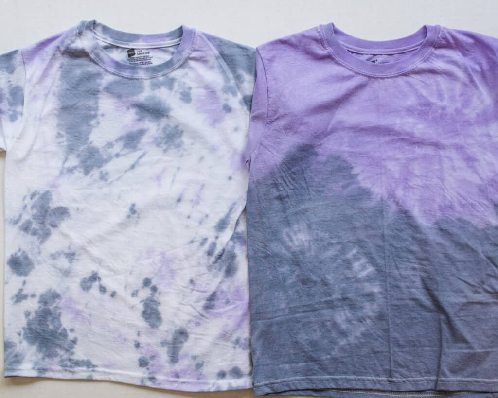 tie dye with drip and half and half technique