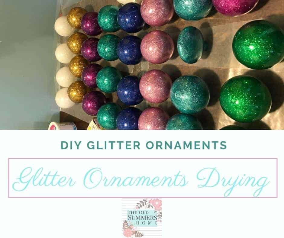 glitter ornaments drying