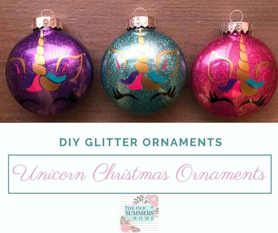 unicorn glitter ornaments