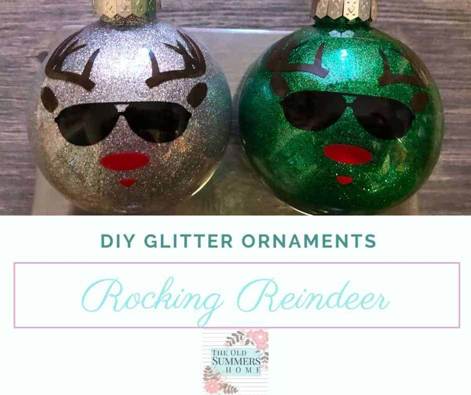 cool reindeer glitter ornaments