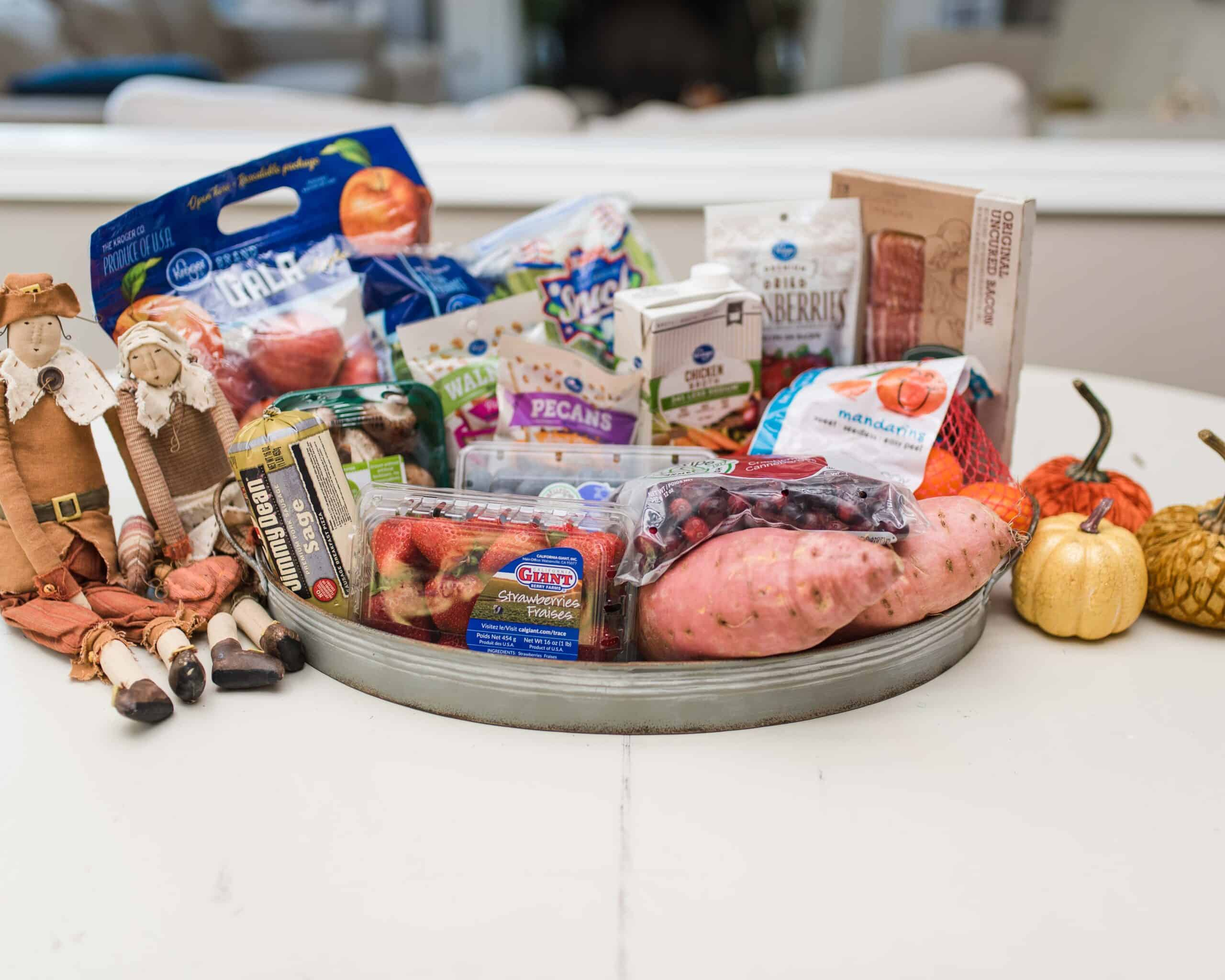 Thanksgiving menu ingredients with perfect packaging