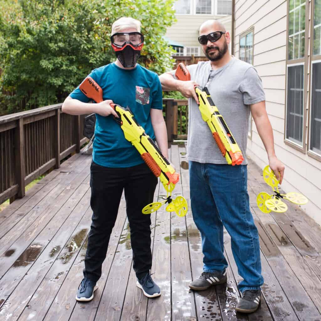 dad and son nerf competition