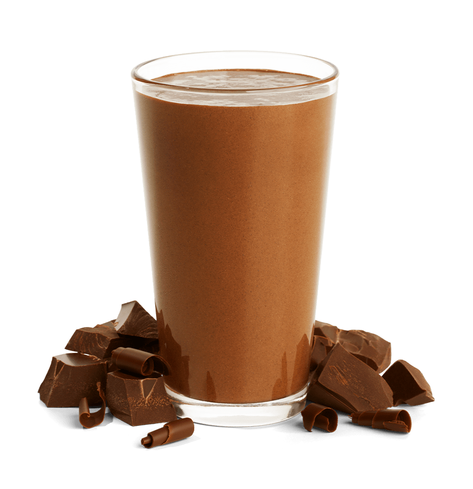 glass of chocolate shakeology