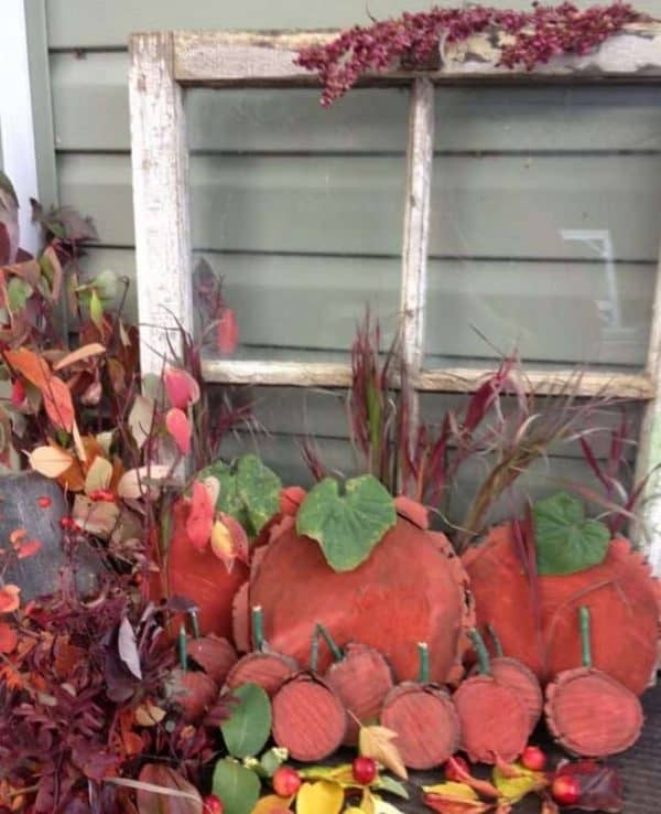 window with fall decor