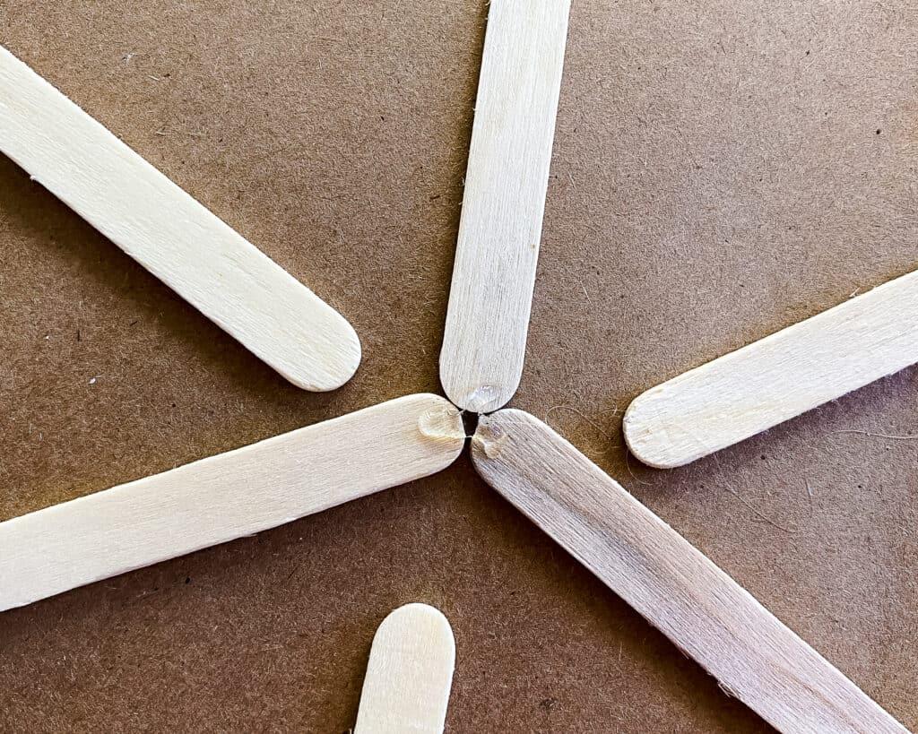glue the 3 center sticks together