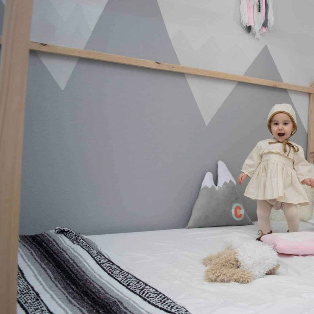 DIY mountain nursery with wall mural