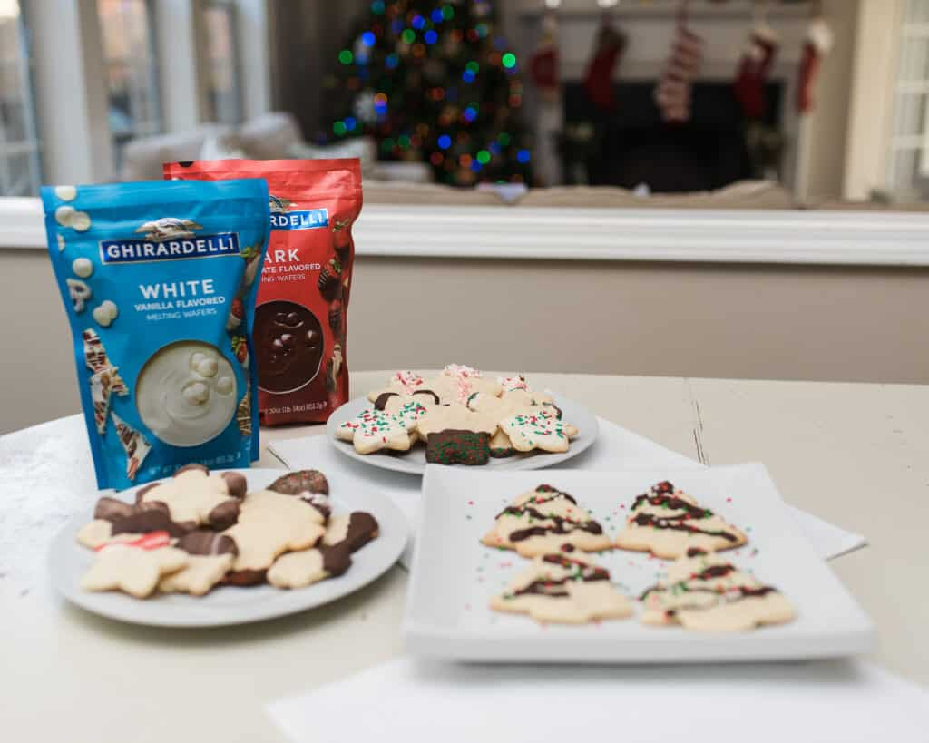 Ghirardelli melting wafers and holiday cookies