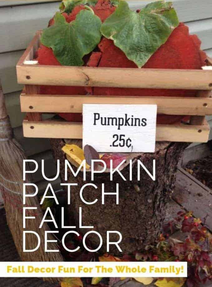 Pumpkin Patch Fall Decor is the perfect way to get the whole family involved! Grab some wood slices, paint and the kids and let's get crafting!