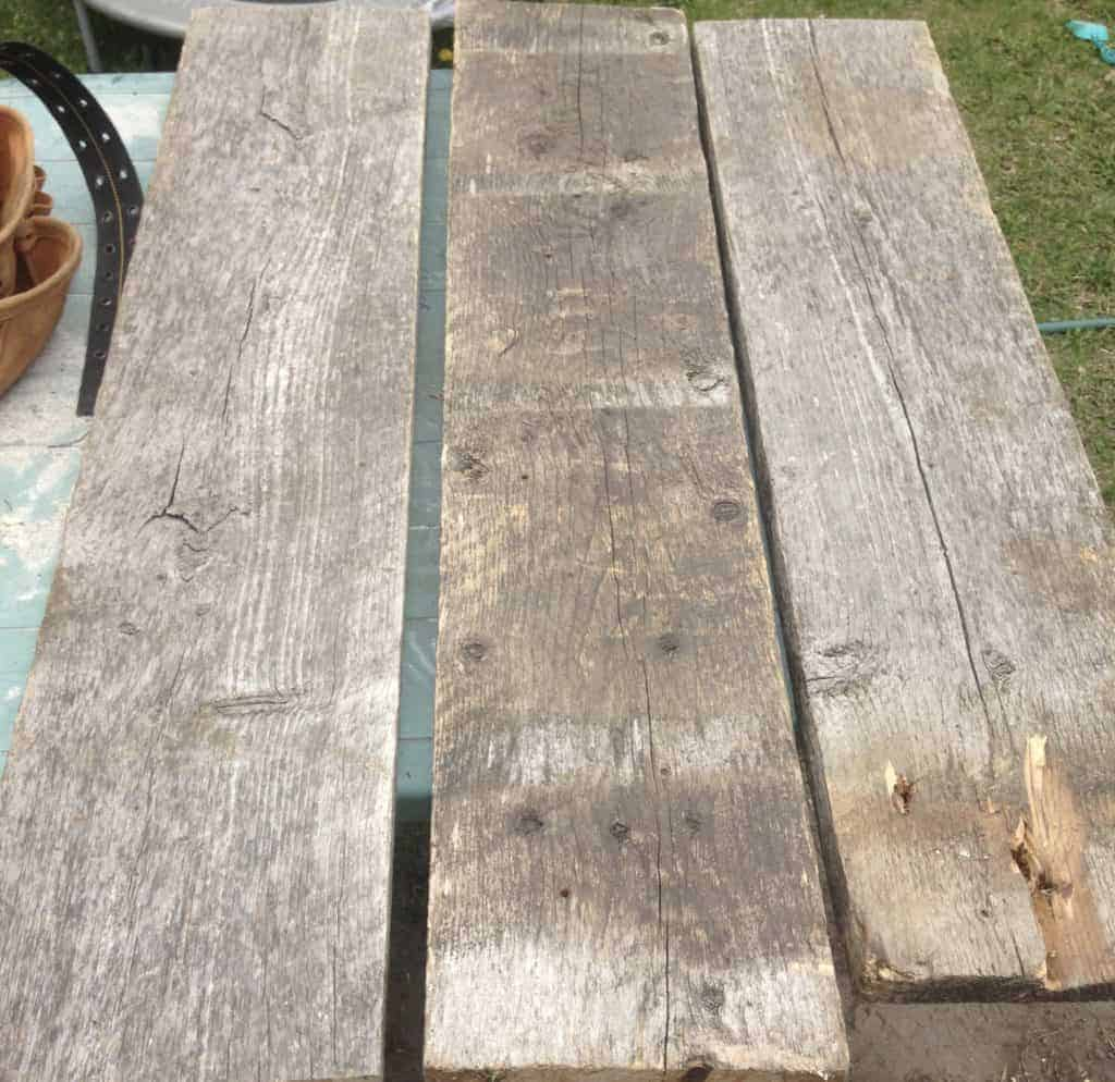 You will need three planks to complete your DIY farmhouse backyard bench.