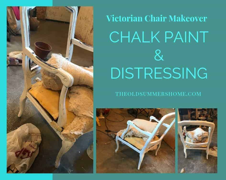 Using chalk pain i refinished the Victorian Chair in Lined White by Chalked and distressed it to allow the dark undertones of the wood to show through.