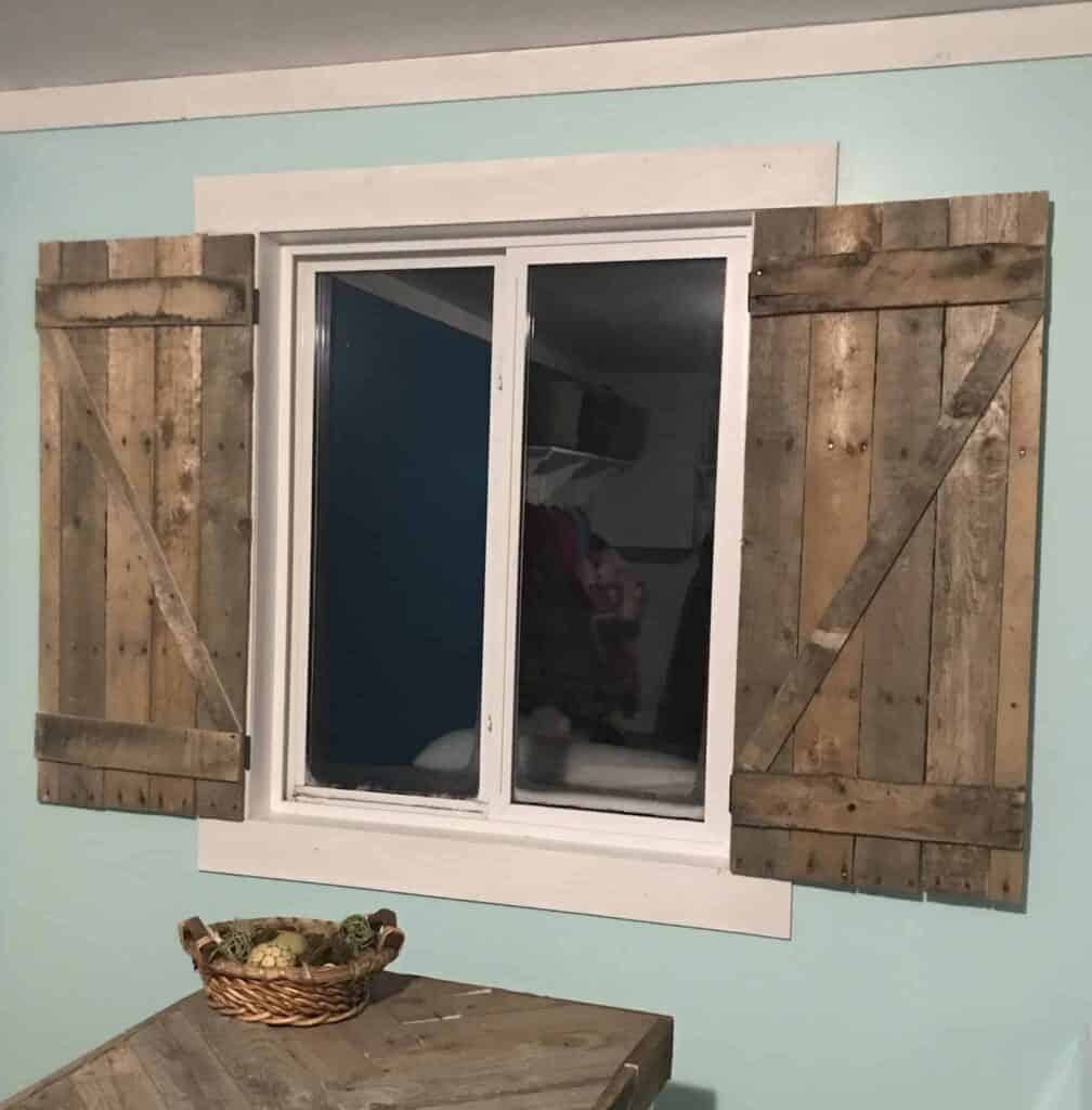 My new farmhouse shutters for the laundry area window