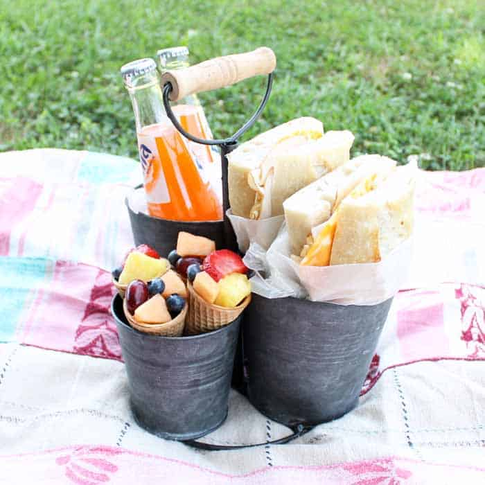 date night at home with picnic