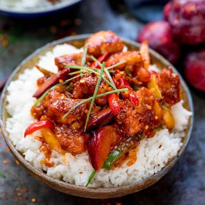 20 Minute Chinese Plum Chicken with vegetables square FS - Amanda Seghetti