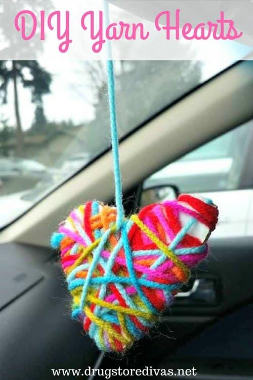 DIY Yarn Hearts Valentines day crafts for kids - Amanda Seghetti