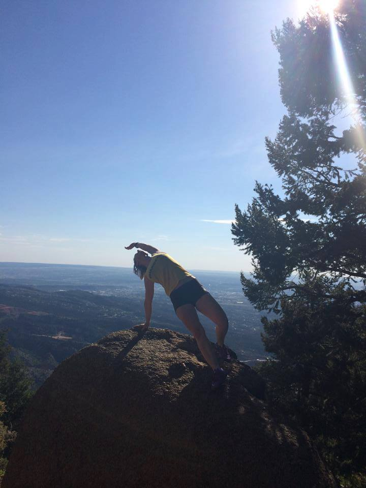 Amanda Seghetti doing PiYo flip on top of The Incline in Colorado