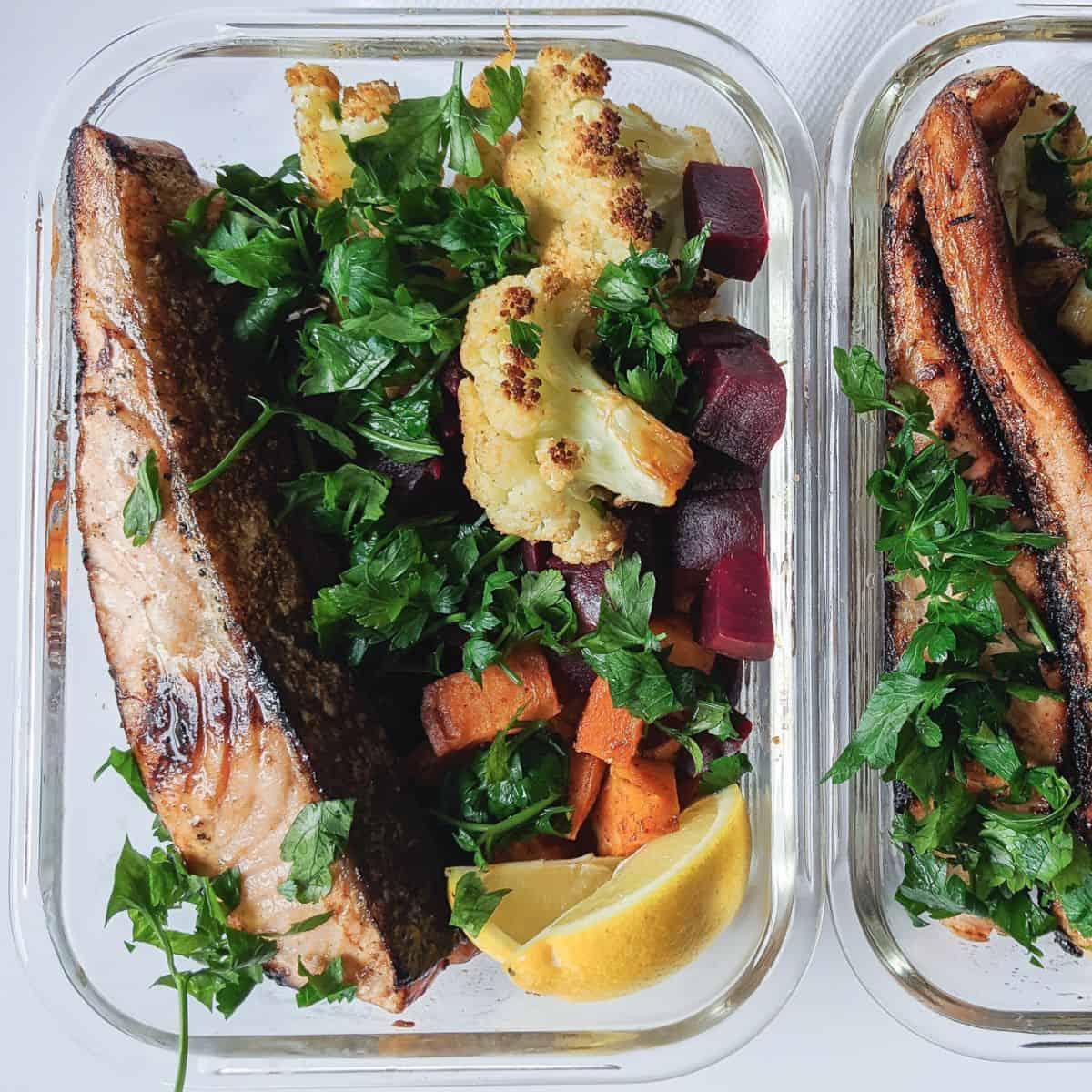 high protein salmon meal prep 1 - Amanda Seghetti