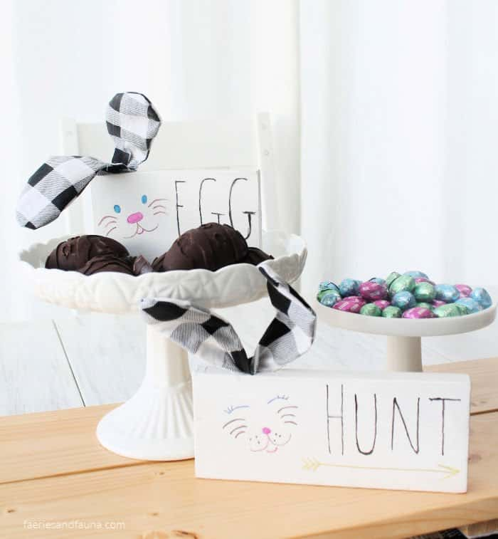 DIY Wooden Shelf Sitter Signs that Say Easter Hunt with Bunnies and bendable ears - Amanda Seghetti