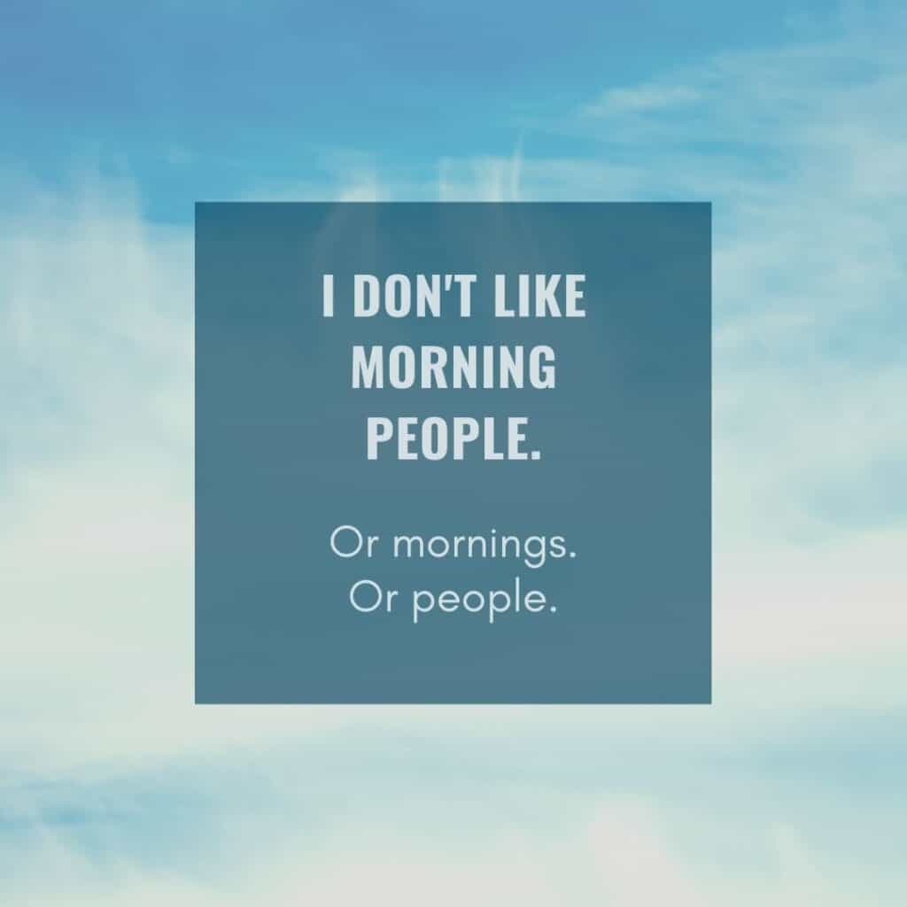 i don't like mornings funny saying