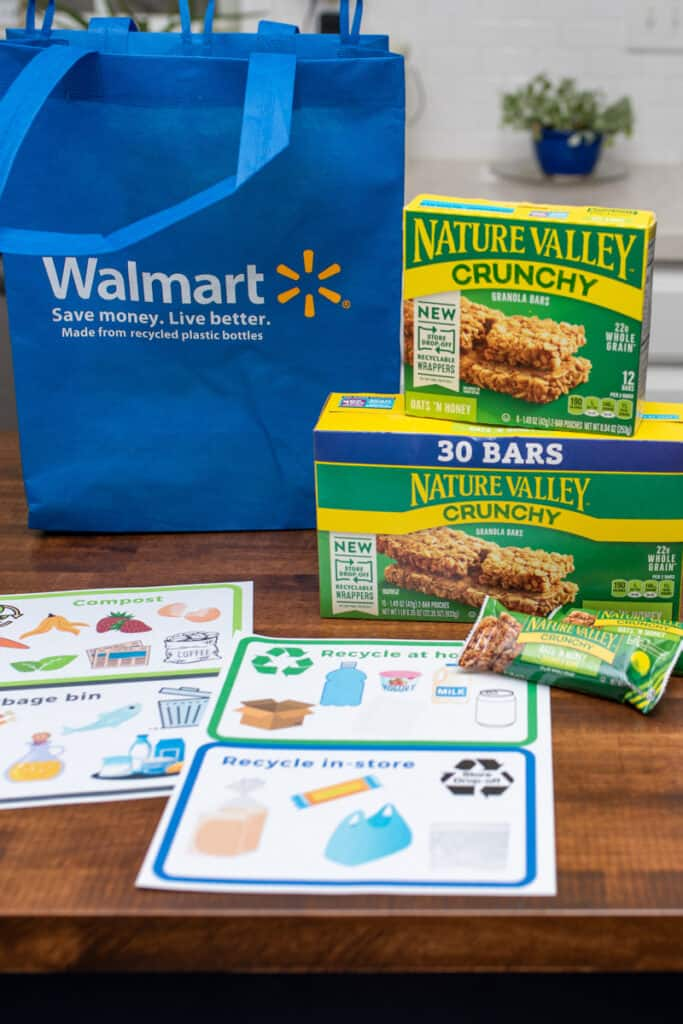 recycling charts next to nature valley bars and walmart bag