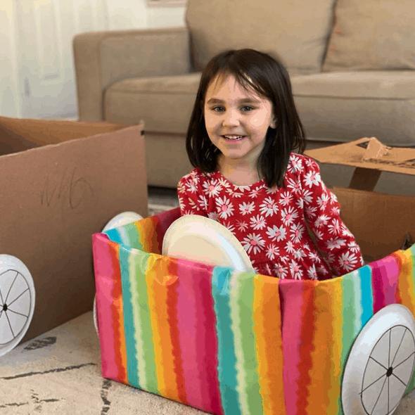 reusing cardboard box to make a pretend car
