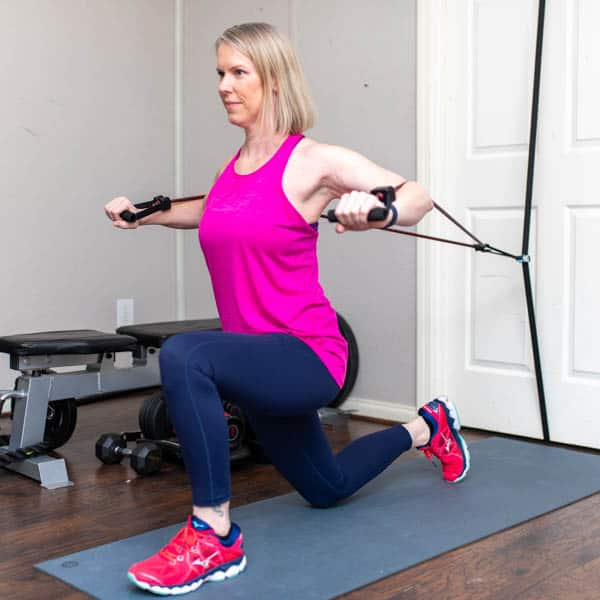 resistance band kneeling chest press 1