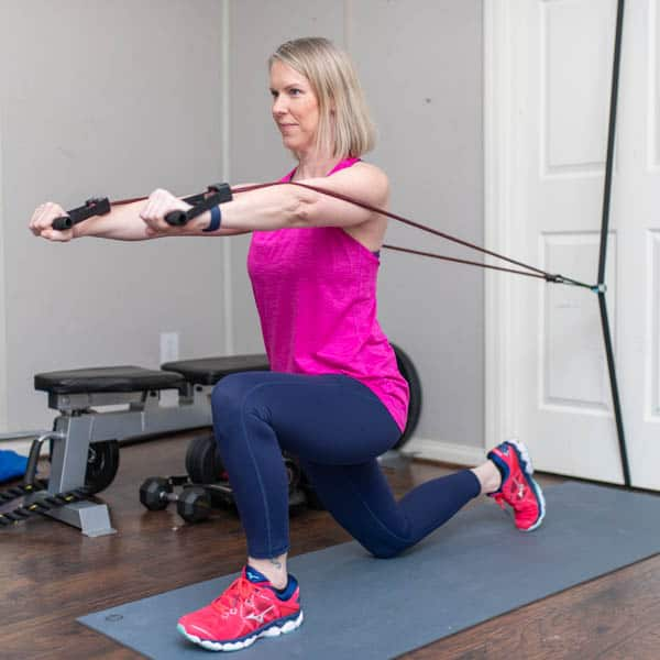 resistance band kneeling chest press 2