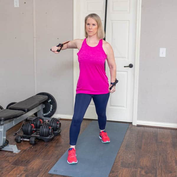 single arm resistance band chest press 1