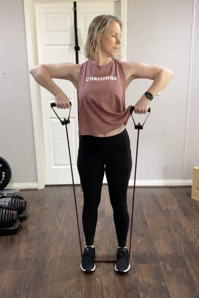 resistance band upright row exercise